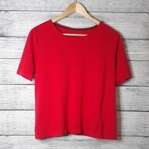 Ellen Tracy Red Women's short sleeve Blouse XL